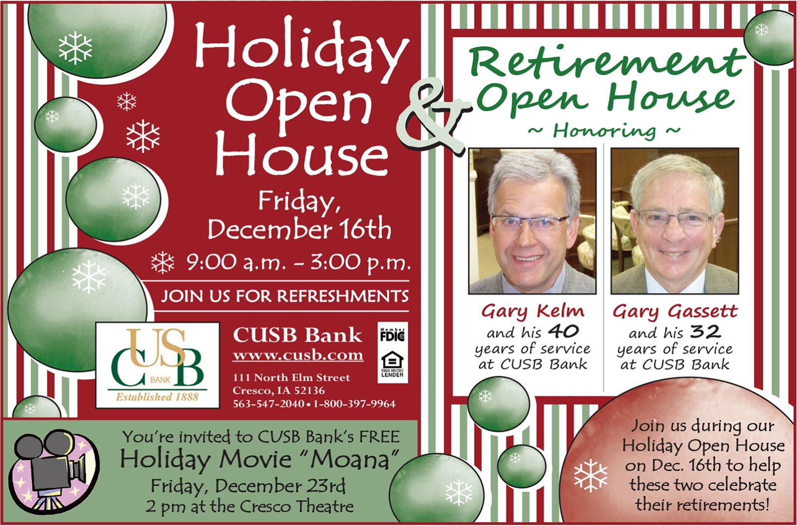 CUSB Holiday Open Houses