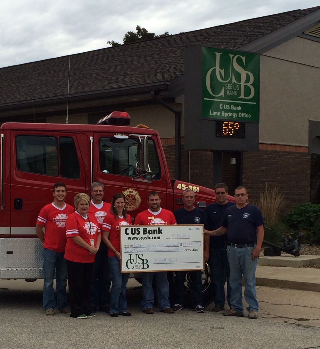 Lime Springs Fire Department Donation