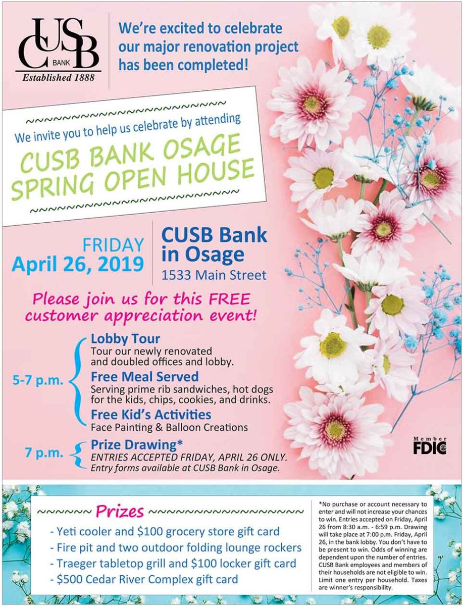 CUSB Osage location Spring Open House this Friday, April 26 from 5-7 PM