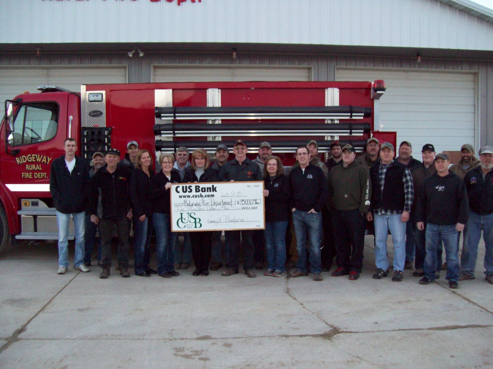 Ridgeway Fire Department Donation