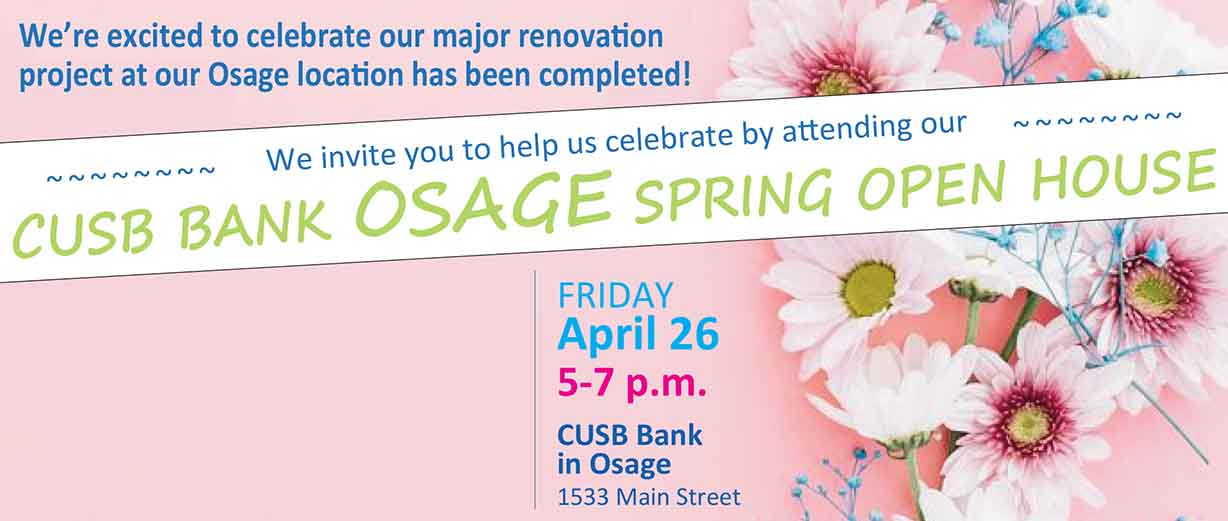 Please join us for this FREE event at our CUSB Bank Osage location!