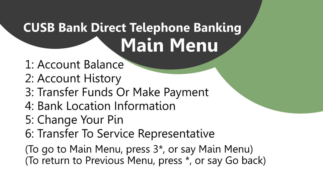 User Options for Direct Telephone Banking